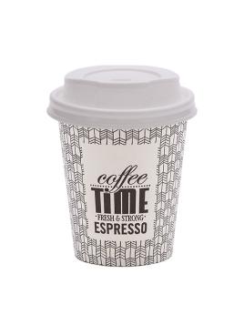 """COPO 8OZ / 24CL """"COFFE TIME"""" CARTÃO / PAPEL COM TAMPA"""