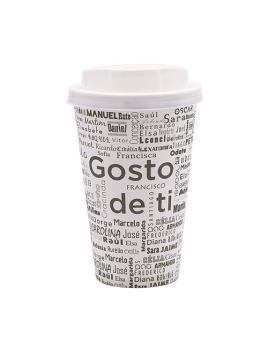 """COPO """"GOSTO DE TI"""" 12OZ / 35CL CARTÃO / PAPEL COM TAMPA"""