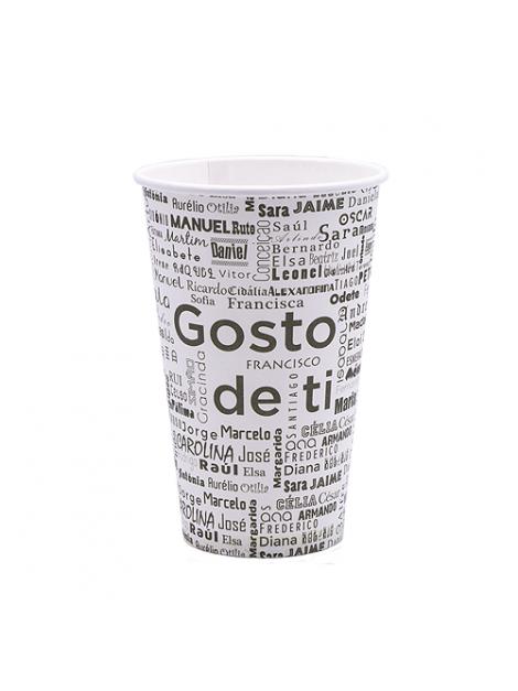 """COPO CARTÃO / PAPEL """"GOSTO DE TI"""" 12OZ / 35CL"""